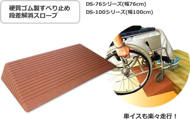 硬質ゴム製すべり止め段差解消スロープ 車イスも楽々走行!DS-76シリーズ(幅76cm)DS-100シリーズ(幅100cm)